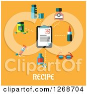 Clipart Of A Clip Board And Medical Items Over Recipe Text On Orange Royalty Free Vector Illustration