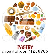 Clipart Of Foods And Accessories Over Pastry Text On White Royalty Free Vector Illustration by Seamartini Graphics