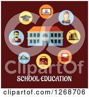 Clipart Of A School Building With Teachers And Items Over Text On Maroon Royalty Free Vector Illustration
