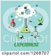 Clipart Of A Science Lab Equipment Over Experiment Text On Blue Royalty Free Vector Illustration