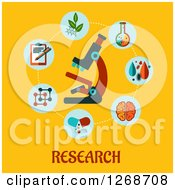 Clipart Of A Microscope In A Circle Of Medical Items Over Text On Yellow Royalty Free Vector Illustration by Seamartini Graphics