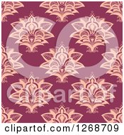 Clipart Of A Seamless Pattern Background Of Pink Lotus Henna Flowers Royalty Free Vector Illustration by Seamartini Graphics