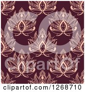 Clipart Of A Seamless Pattern Background Of Pink Lotus Henna Flowers On Maroon Royalty Free Vector Illustration
