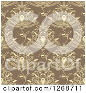 Clipart Of A Seamless Pattern Background Of Yellow Henna Flowers On Tan Royalty Free Vector Illustration by Seamartini Graphics