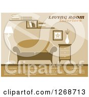 Clipart Of A Brown Towned Living Room With Sample Text Royalty Free Vector Illustration by Seamartini Graphics