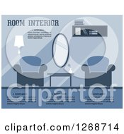 Clipart Of A Blue Toned Living Room Or Lobby Interior With Text Royalty Free Vector Illustration by Vector Tradition SM