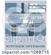 Clipart Of A Blue Kitchen Interior With Text 2 Royalty Free Vector Illustration