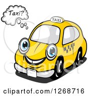 Clipart Of A Thinking Yellow Taxi Cab Royalty Free Vector Illustration