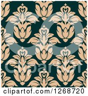 Clipart Of A Seamless Background Pattern Of Tan Damask Floral On Teal Royalty Free Vector Illustration by Seamartini Graphics