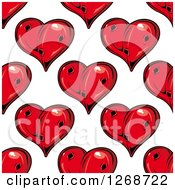 Clipart Of A Seamless Background Pattern Of Punctured Red Hearts Royalty Free Vector Illustration by Seamartini Graphics