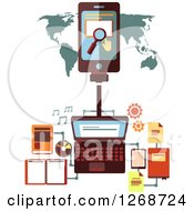 Clipart Of A Laptop With Education And Learning Icons Connected To A Tablet Over A Map Royalty Free Vector Illustration