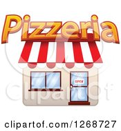 Clipart Of A Pizzeria Shop With An Open Sign In The Door Royalty Free Vector Illustration by Seamartini Graphics