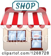 Clipart Of A Shop With An Open Sign In The Door Royalty Free Vector Illustration by Seamartini Graphics