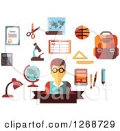 Clipart Of A Male Teacher And School Accessories On White Royalty Free Vector Illustration by Seamartini Graphics