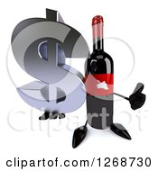 Clipart Of A 3d Wine Bottle Mascot With A Red Label Holding A Dollar Symbol And Thumb Up Royalty Free Illustration