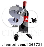Clipart Of A 3d Wine Bottle Mascot With A Red Label Jumping With A Dollar Symbol Royalty Free Illustration