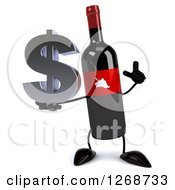 Clipart Of A 3d Wine Bottle Mascot With A Red Label Holding Up A Finger And A Dollar Symbol Royalty Free Illustration