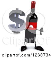 Clipart Of A 3d Wine Bottle Mascot With A Red Label Holding A Dollar Symbol And Thumb Down Royalty Free Illustration