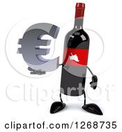 Clipart Of A 3d Wine Bottle Mascot With A Red Label Holding A Euro Symbol Royalty Free Illustration