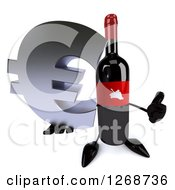 Clipart Of A 3d Wine Bottle Mascot With A Red Label Holding A Euro Symbol And Thumb Up Royalty Free Illustration