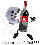 Clipart Of A 3d Wine Bottle Mascot With A Red Label Holding A Euro Symbol And Jumping Royalty Free Illustration