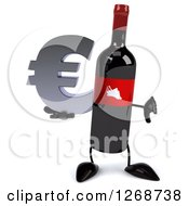 Clipart Of A 3d Wine Bottle Mascot With A Red Label Holding A Euro Symbol And Thumb Down Royalty Free Illustration