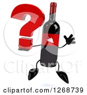 Clipart Of A 3d Wine Bottle Mascot With A Red Label Jumping With A Question Mark Royalty Free Illustration