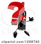 Clipart Of A 3d Wine Bottle Mascot With A Red Label Facing Right And Jumping With A Question Mark Royalty Free Illustration