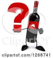 Clipart Of A 3d Wine Bottle Mascot With A Red Label Holding And Pointing To A Question Mark Royalty Free Illustration