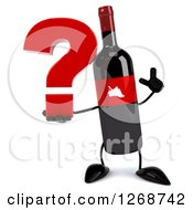 Clipart Of A 3d Wine Bottle Mascot With A Red Label Holding Up A Finger And A Question Mark Royalty Free Illustration