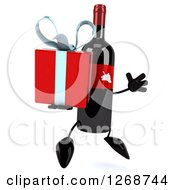 Clipart Of A 3d Wine Bottle Mascot With A Red Label Jumping And Holding A Gift 2 Royalty Free Illustration