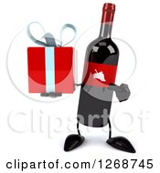 Clipart Of A 3d Wine Bottle Mascot With A Red Label Holding And Pointing To A Gift Royalty Free Illustration