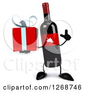 Clipart Of A 3d Wine Bottle Mascot With A Red Label Holding Up A Finger And A Gift Royalty Free Illustration