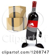 Clipart Of A 3d Wine Bottle Mascot With A Red Label Holding Boxes Royalty Free Illustration