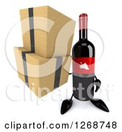 Clipart Of A 3d Wine Bottle Mascot With A Red Label Holding Boxes 2 Royalty Free Illustration