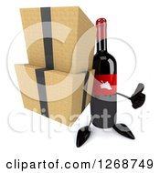 Clipart Of A 3d Wine Bottle Mascot With A Red Label Holding Boxes And A Thumb Up Royalty Free Illustration