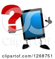 3d Tablet Computer Character Holding Up A Finger And A Question Mark