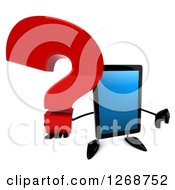 3d Tablet Computer Character Holding A Question Mark And Thumb Down