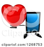 3d Tablet Computer Character Holding Up A Heart