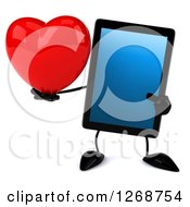 3d Tablet Computer Character Holding And Pointing To A Heart