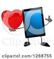 3d Tablet Computer Character Holding Up A Finger And A Heart