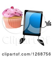 3d Tablet Computer Character Jumping And Holding A Pink Frosted Cupcake