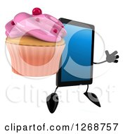3d Tablet Computer Character Jumping And Holding A Pink Frosted Cupcake 2