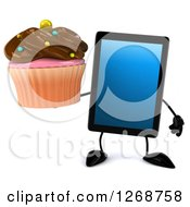 3d Tablet Computer Character Holding A Chocolate Frosted Cupcake
