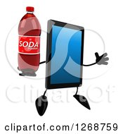 Clipart Of A 3d Tablet Computer Character Jumping With A Soda Bottle Royalty Free Illustration by Julos
