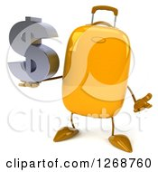 Clipart Of A 3d Yellow Suitcase Character Holding A Dollar Symbol And Shrugging Royalty Free Illustration