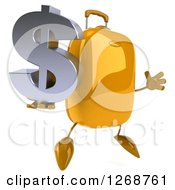 Clipart Of A 3d Yellow Suitcase Character Jumping And Holding A Dollar Symbol Royalty Free Illustration