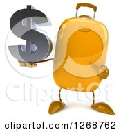 Clipart Of A 3d Yellow Suitcase Character Holding And Pointing To A Dollar Symbol Royalty Free Illustration