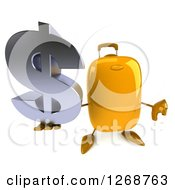 Clipart Of A 3d Yellow Suitcase Character Holding A Dollar Symbol And Thumb Down Royalty Free Illustration