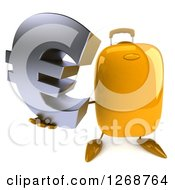 Clipart Of A 3d Yellow Suitcase Character Holding Up A Euro Symbol Royalty Free Illustration